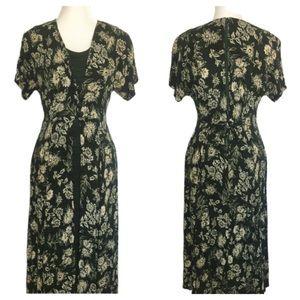 Vintage Brett Alixander Green Floral Midi Dress